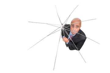 Businessman with umbrella frame