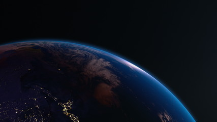 Earth view from space with night city lights. Asia. 4K.