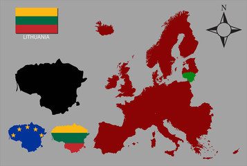 Lithuania  - Three contours, Map of Europe and flag vector