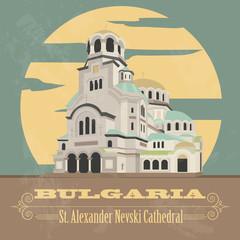 Bulgaria landmarks. Retro styled image