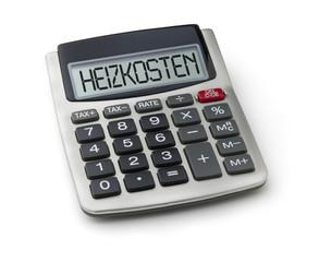 Taschenrechner mit dem Wort Heizkosten im Display