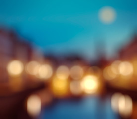 Defocused blurred background of European city