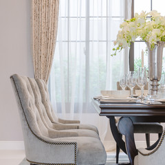 luxury dinning room with classic chairs style