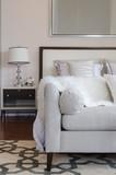 luxury grey sofa on carpet in luxury bedroom