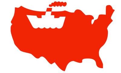 Mappa USA con indicazione nave