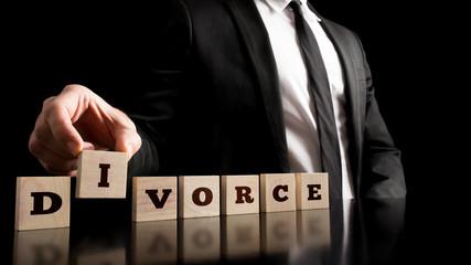 Divorce Letters on Black Background