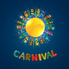 Carnival card with confetti and serpentine sun