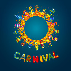 Carnival card with confetti and serpentine round frame