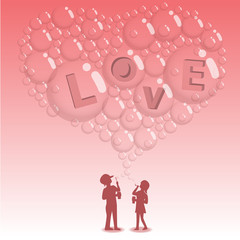 kids blowing bubbles to be love word inside 4 bubbles