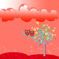 Owl love on tree leaves heart