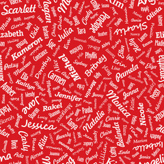Seamless texture from famous woman's names. Valentines day (vect