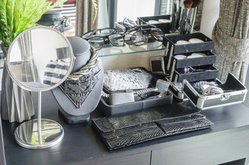 black dressing table with accessories