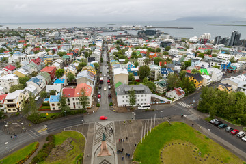 Reykjavik houses aerial view, long exposure, Iceland