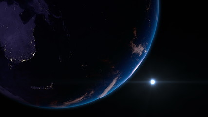 Earth view from space with night city lights. Oceania. 4K.