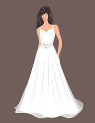 Woman in Wedding dress. Vector