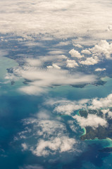 cloud above island and sea from top view