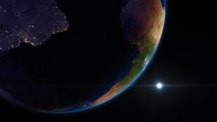 Earth view from space with night city lights. South America.