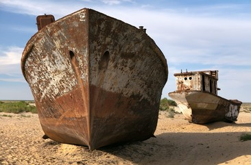 Boats in desert - Aral sea - Uzbekistan