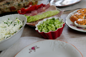 table, dishes, breakfast, meal, plate, art, tasty,