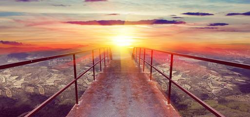 Fondo abstracto, puesta de sol y pasarela. concepto de viajes
