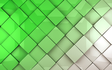 Imagen abstracta .Fondo de cubos en tonos verdes