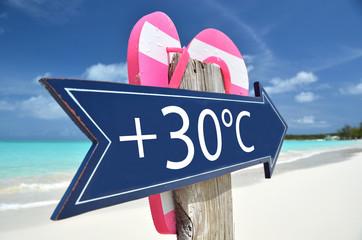 30 AIR TEMPERATURE beach sign