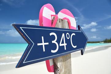 34 AIR TEMPERATURE beach sign
