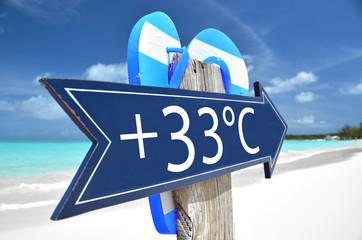 33 AIR TEMPERATURE beach sign