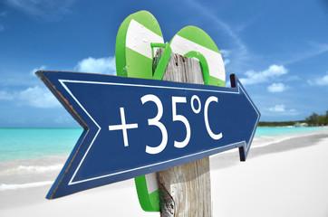 35 AIR TEMPERATURE beach sign