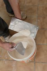 Renovation-Construction: Man installing plasterboard