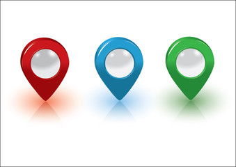 Map pointers, red, blue and green, vector