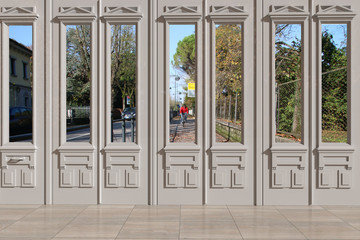 Vista 3D di finestra con sfondo pista ciclabile