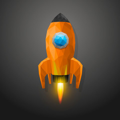 Space rocket launch 3d polygon