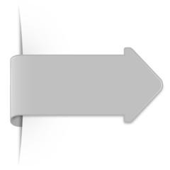 Grauer Sticker Pfeil mit Schatten und Textfreiraum