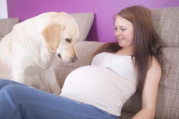 Pregnant Girl with a dog