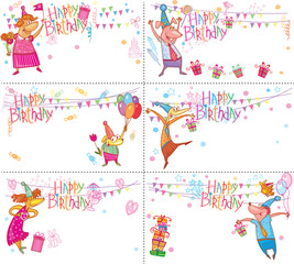 Set of Happy Birthday cards