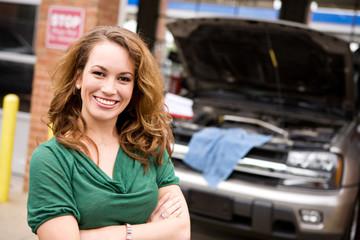 Mechanic: Cheerful Auto Shop Customer