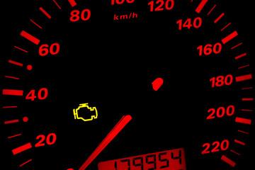 Check engine light. Car dashboard in closeup