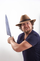 Attacker with big knife