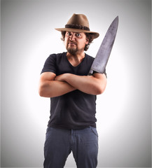 Man with very big Knife