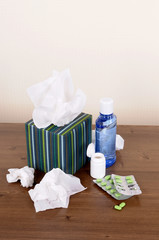 Box of tissues with medicine