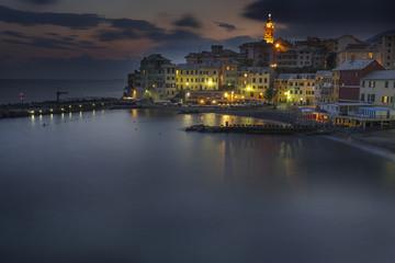 Vista di Bogliasco al tramonto , Genova