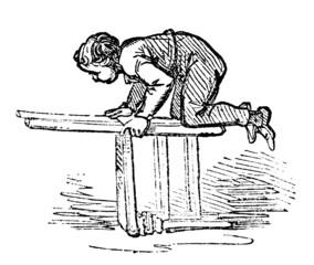 19th century engraving of a boy climbing a chair