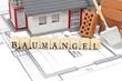 Leinwanddruck Bild - Bauplan mit Ziegelstein und Haus mit Baumängel