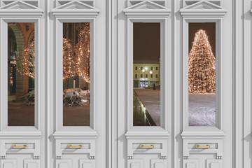 Vista 3D di finestra con sfondo piazza natalizia