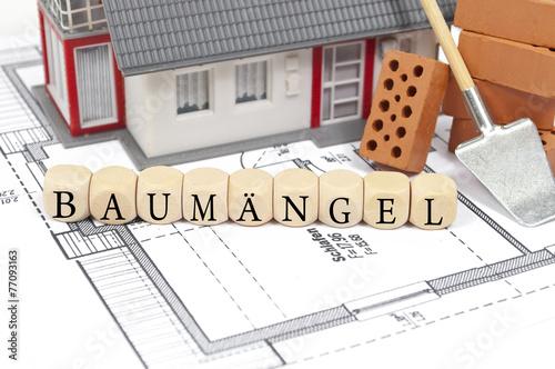 Leinwanddruck Bild Bauplan mit Ziegelstein und Haus mit Baumängel