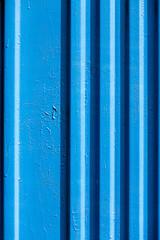 Blue painted iron fence