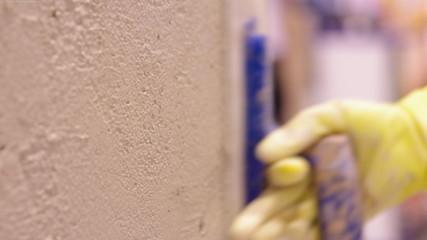 Closeup view of plastering work