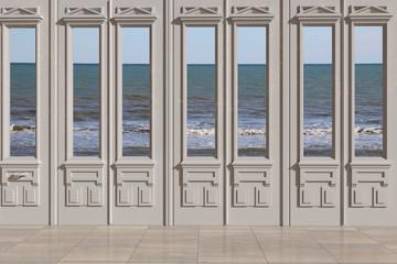 Vista 3D di finestra con sfondo il mare