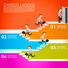Office worker climbs the career
